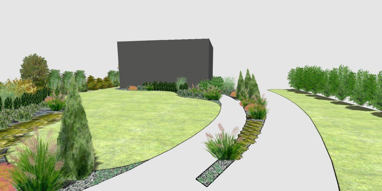 Widok na ogród z furtki - lato